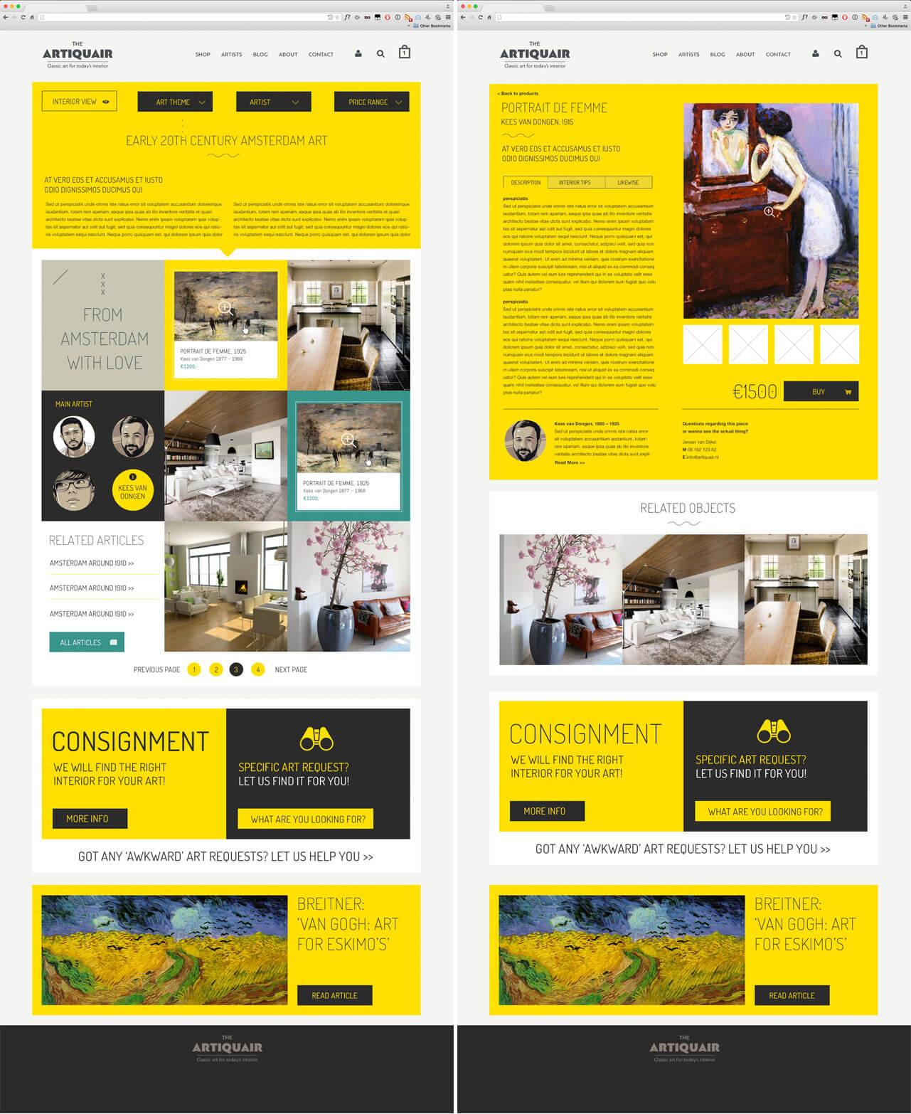 website webshop artiquair klassieke kunst in een hedendaags interieur
